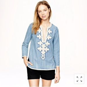 j.crew chambray embroidered tunic